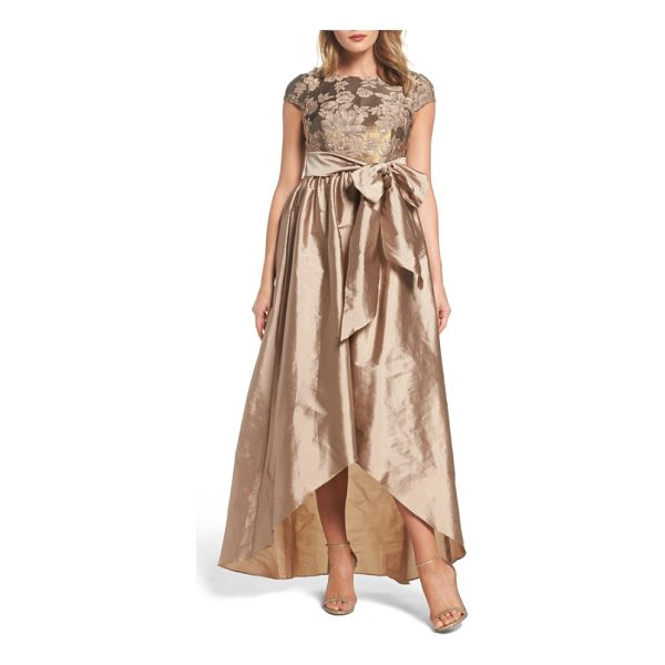 ADRIANNA PAPELL embellished taffetta high/low gown - A large tie sash separates the sequined, embroidered bodice...