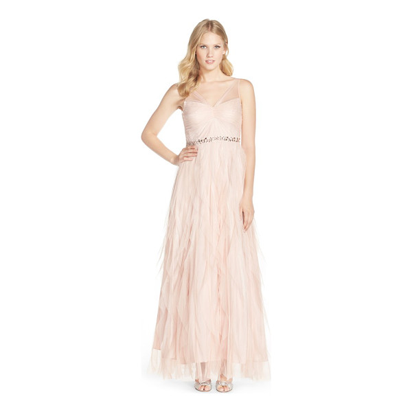 ADRIANNA PAPELL embellished tiered chiffon gown - Ethereal chiffon gently gathers to the center of a lush...