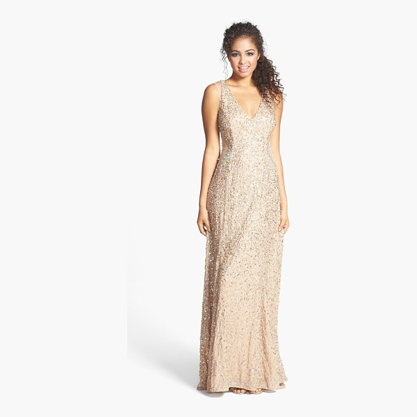 ADRIANNA PAPELL embellished v-neck gown - A sparkly web of sequins brings champagne shimmer to a...