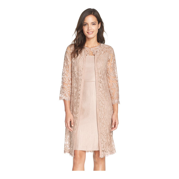 ADRIANNA PAPELL petite   embroidered lace illusion yoke sheath dress & topper - A featherweight open-front topper offers modest coverage...