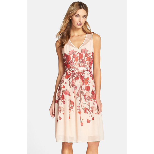 ADRIANNA PAPELL floral chiffon midi dress - Artistic floral patterns and sheer shoulder panels extend...