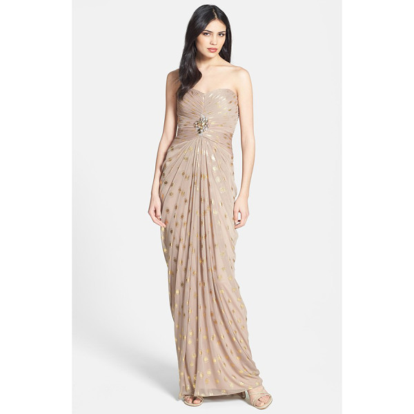 ADRIANNA PAPELL foiled dot draped mesh dress - Opulent jewels center attention on the finely shirred...