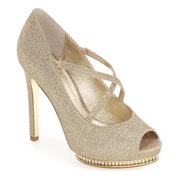 ADRIANNA PAPELL 'golda' peep toe crystal embellished platform pump - Slender straps crisscross at the instep of this flirty...