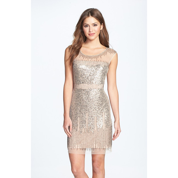ADRIANNA PAPELL illusion yoke beaded sheath dress - Gold-burnished sequins and beads drip liquid shimmer down...