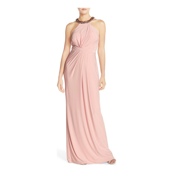 ADRIANNA PAPELL jewel neck jersey gown - Sparkling baubles circle the halter-style neckline of an...
