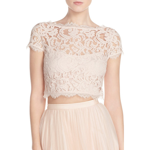 ADRIANNA PAPELL lace crop top - A bateau neck and delicate eyelash-fringe lace make this...