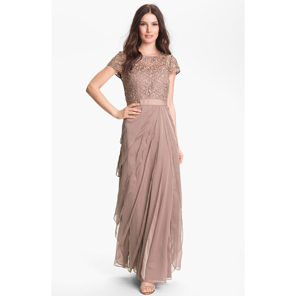 ADRIANNA PAPELL layered chiffon & lace gown - Swirling lace polishes the cap-sleeve bodice of an elegant...