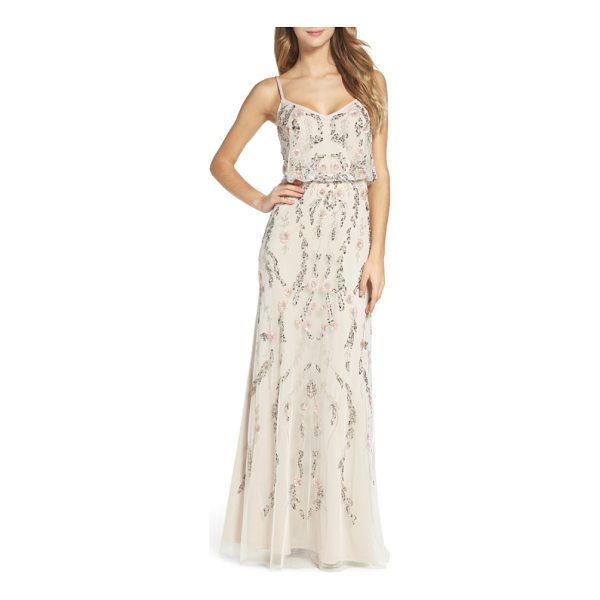 ADRIANNA PAPELL mesh blouson gown - Be extra dreamy in this fluid, floral-themed gown alight...