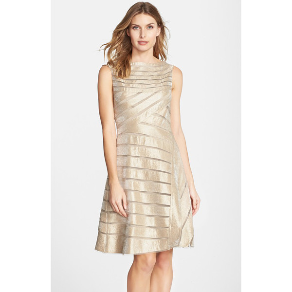 ADRIANNA PAPELL metallic mesh stripe fit & flare dress - Sheer mesh insets stripe the shimmery golden fabric of this...
