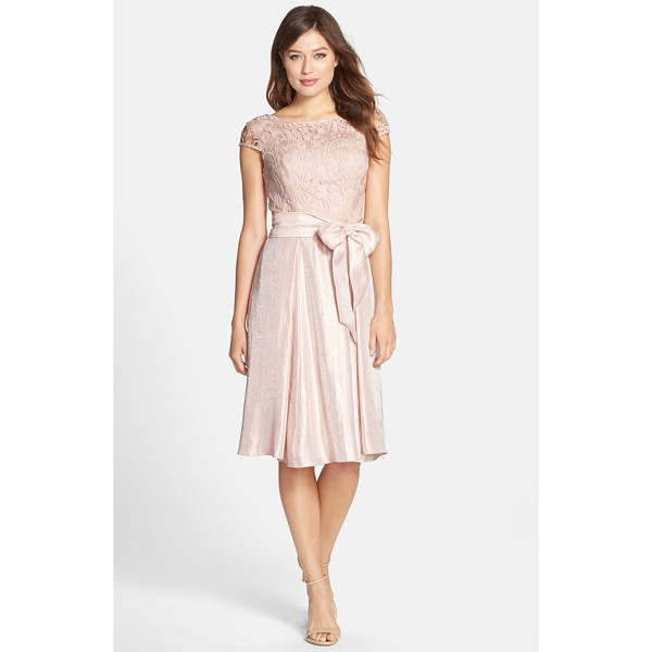 ADRIANNA PAPELL mixed media fit & flare dress - This cocktail dress has a demure lace bodice and shimmering...