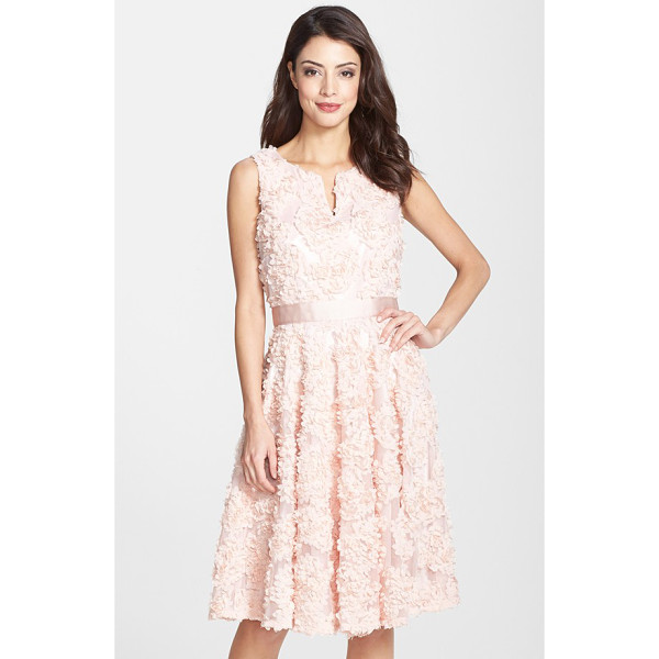 ADRIANNA PAPELL petal chiffon fit & flare dress - A bouquet of lush roses blooms across the ethereal tulle...