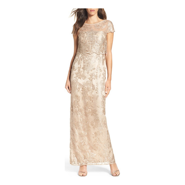ADRIANNA PAPELL popover gown - Shimmering embroidery catches the light on a column dress...