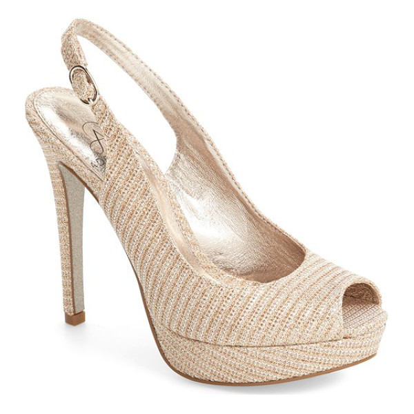 ADRIANNA PAPELL rita platform slingback sandal - Sparkling mesh adds a glittering finish to a stunning
