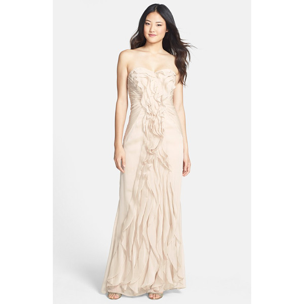 ADRIANNA PAPELL ruffled chiffon dress - Decadent ruffles lavishly swirl and ripple down the front...