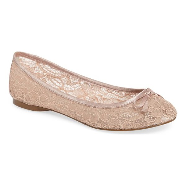 ADRIANNA PAPELL sage flat - A lacy finish and bow embellishment add subtle romance to a...