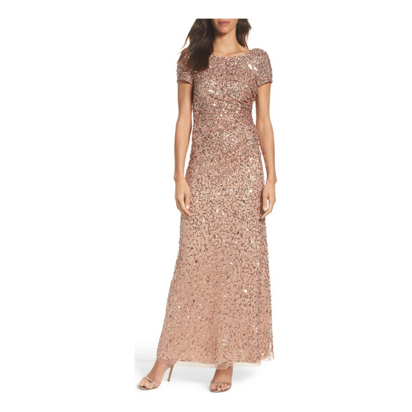 ADRIANNA PAPELL sequin cowl back gown - A mix of sequins douses this mesh evening gown in...