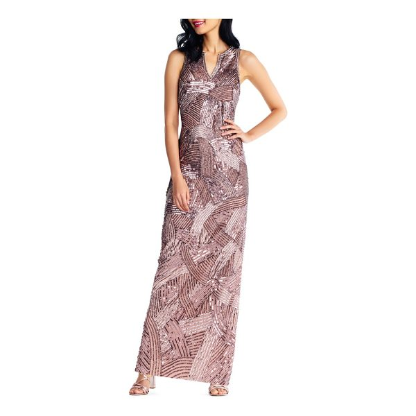 ADRIANNA PAPELL sequin gown - Catch all the light in the room with the geometric trail of...