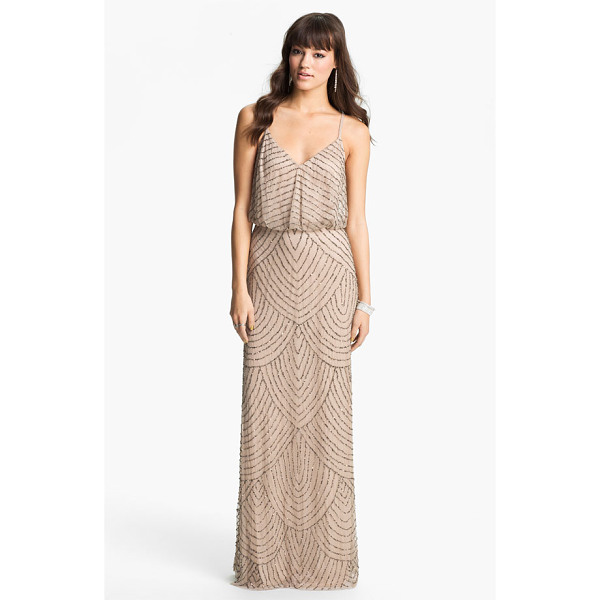 ADRIANNA PAPELL embellished blouson gown - Shining metallic beads and sequins accentuate the...