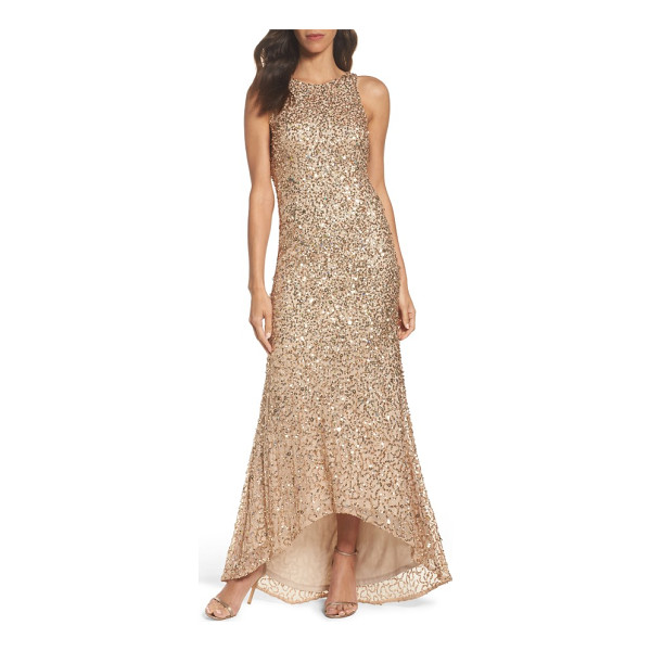 ADRIANNA PAPELL sequin high/low gown - A liquid-shine layer of sequins puts you in a glam...