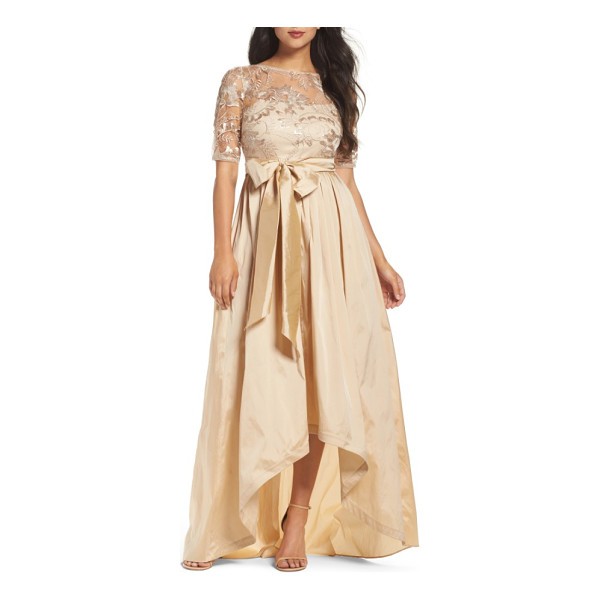 ADRIANNA PAPELL sequin lace & taffeta ballgown - A glimmering-gold ballgown plays with mixed-media texture...