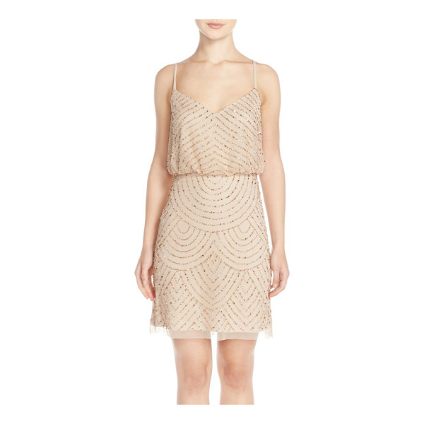 ADRIANNA PAPELL sequin mesh blouson dress - Glimmering beads and sequins scale the mesh length of an...