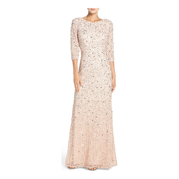 ADRIANNA PAPELL sequin mesh gown - Tonal sequins diffuse multidimensional sparkle all over a...