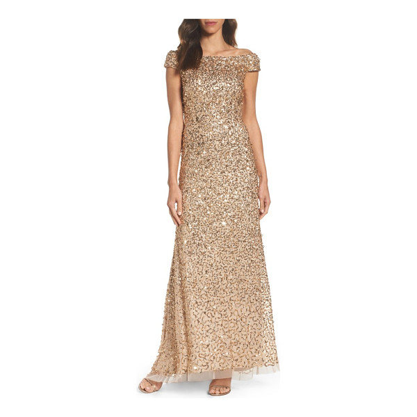 ADRIANNA PAPELL sequin mesh gown - A stylized mix of sequins showers this shoulder-grazing...