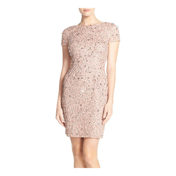 ADRIANNA PAPELL sequin mesh sheath dress - Twinkling sequins shimmer all over bestselling dress by...