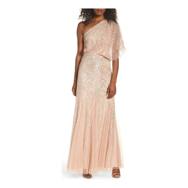 ADRIANNA PAPELL sequin one-shoulder gown - Beautifully draped fabric cascades down the single shoulder...