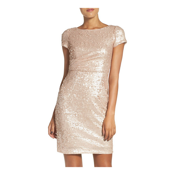ADRIANNA PAPELL sequin sheath dress - Pastel paillettes douse this cap-sleeve cocktail dress in...