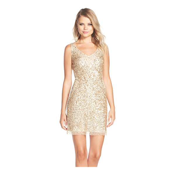 ADRIANNA PAPELL sequin tulle sheath dress - Allover metallic sequins densely gather toward the center...