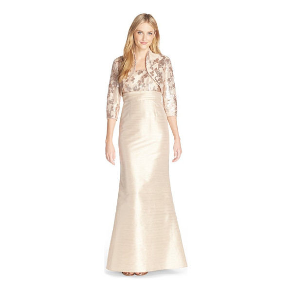 ADRIANNA PAPELL shantung gown & bolero jacket - A beaded, square-neck bodice and flared mermaid skirt...