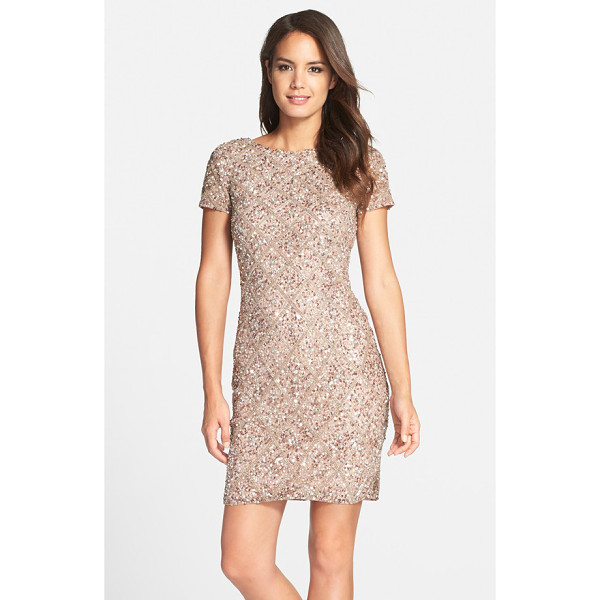 ADRIANNA PAPELL short sleeve beaded cocktail dress - A scooped back adds an elegant flourish to a classic sheath...