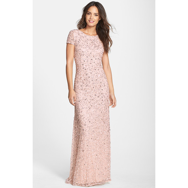 ADRIANNA PAPELL short sleeve sequin mesh gown - Sparkling embellishments swirl around this wildly...