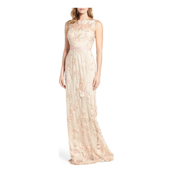 ADRIANNA PAPELL sleeveless embroidered tulle gown - Gorgeous floral embroidery traces the tulle overlay of this...
