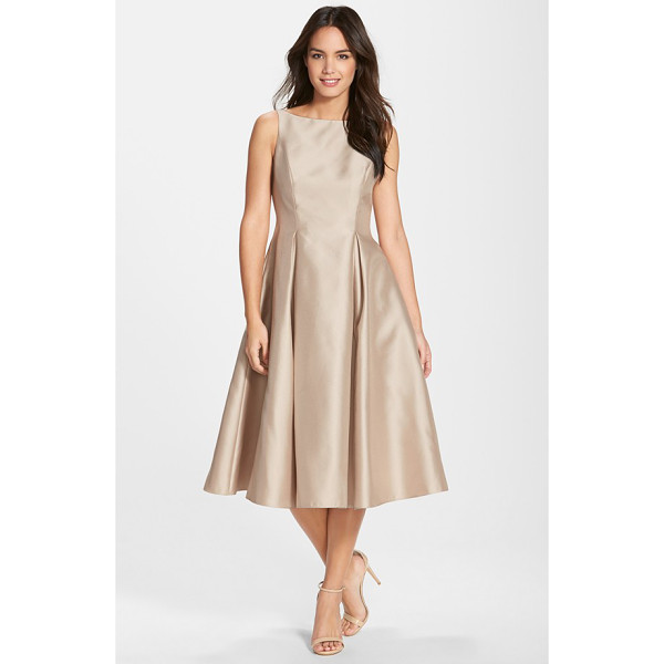 ADRIANNA PAPELL sleeveless mikado fit & flare midi dress - A gorgeous sheen brightens the hue of a mikado party dress...
