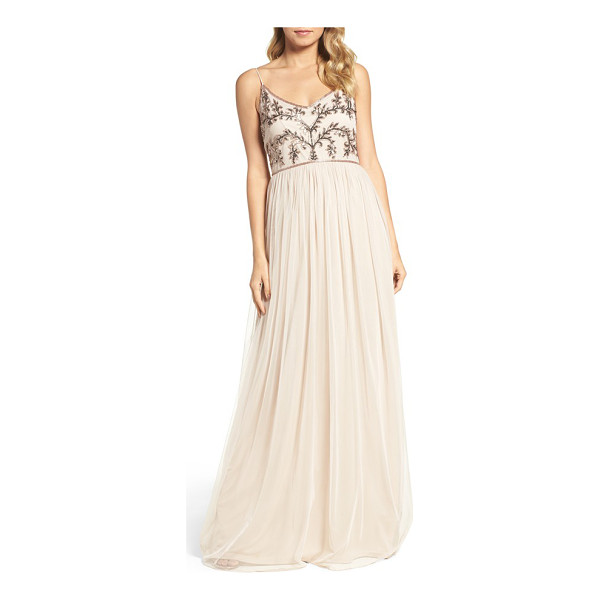 ADRIANNA PAPELL spaghetti strap embroidered bodice gown - Luminous beads and flashing sequins trace a dazzling motif...