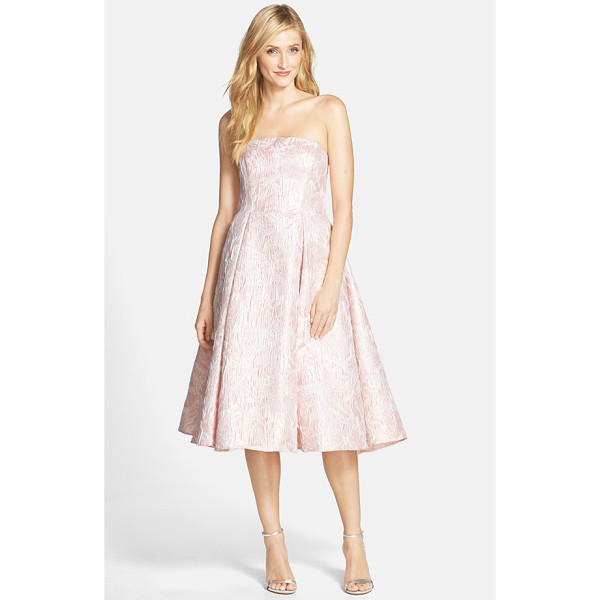 ADRIANNA PAPELL strapless floral jacquard fit & flare dress - Metallic threading lends subtle luster to a lovely...