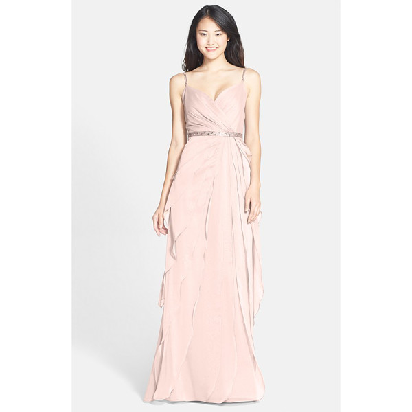 ADRIANNA PAPELL tiered chiffon gown - The gathered surplice-neckline bodice of a diaphanous...