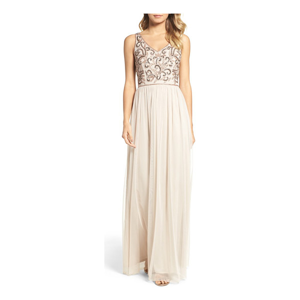 ADRIANNA PAPELL v-neck embroidered bodice gown - Light-catching sequins and shimmering beads trace an...