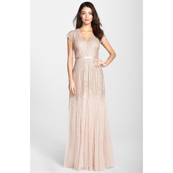 ADRIANNA PAPELL embellished mesh gown - Silvery liquid-shine sequins angle across the glossy...