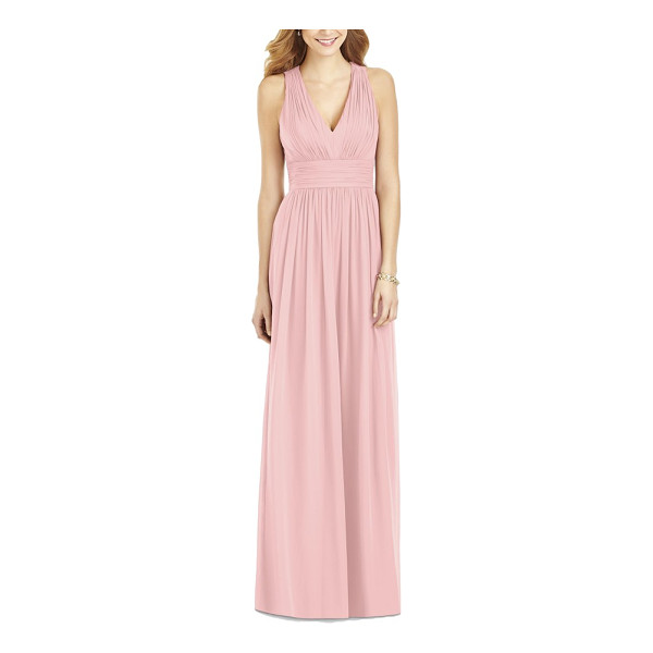 AFTER SIX crisscross back ruched chiffon v-neck gown - Lavish ruching enhances the softly romantic look of a...