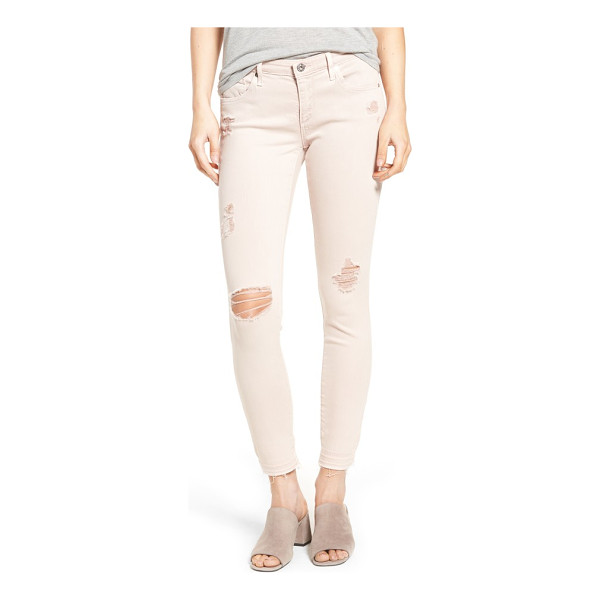 AG ADRIANO GOLDSCHMIED farrah ankle skinny jeans - Ripped knees and released hems add trend-right edge to...