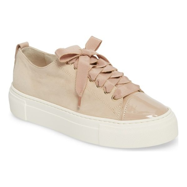 AGL cap toe platform sneaker - Ribbons of silky, frayed burlap lace softly up the front of...