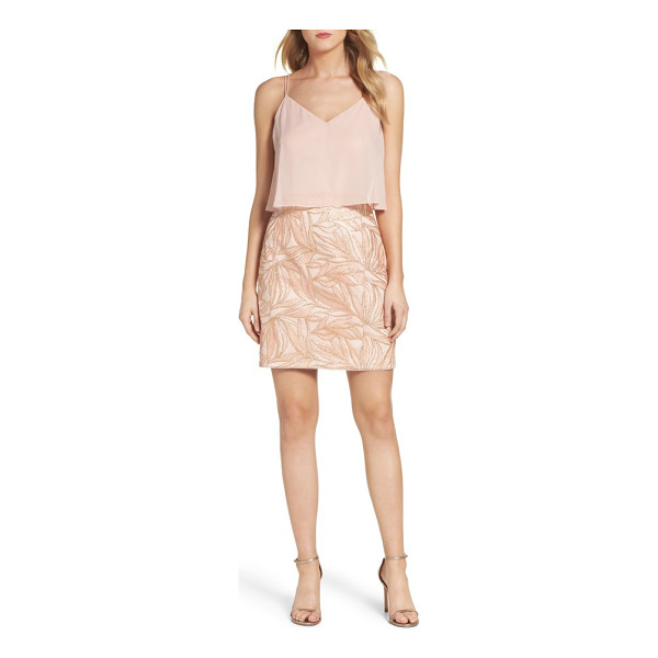 AIDAN BY AIDAN MATTOX chiffon overlay sheath dress - A cropped, chiffon overlay creates the look of separates in...