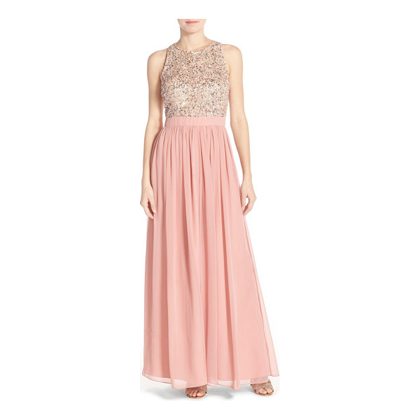 AIDAN BY AIDAN MATTOX embellished mesh gown - Crystals, sequins and beading glint around the fitted...