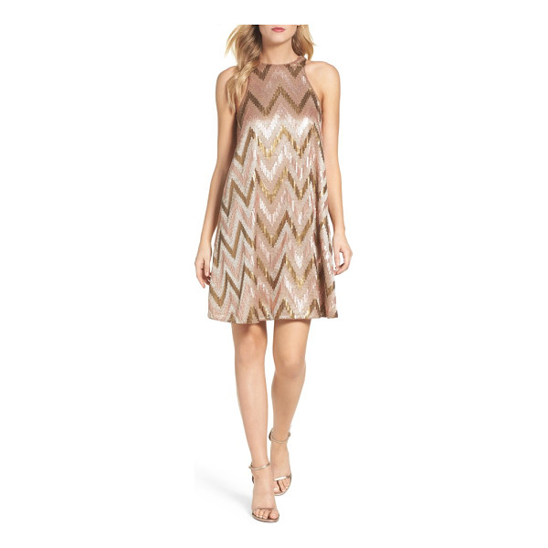 AIDAN BY AIDAN MATTOX embellished swing dress - Satin embroidery and sequin chevron stripes look all the...