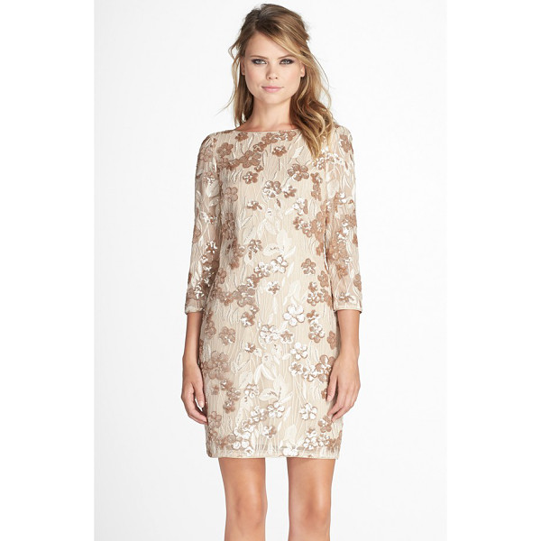 AIDAN BY AIDAN MATTOX embroidered floral sequin dress - Embroidered sequined flowers lend delightful shimmer to a...