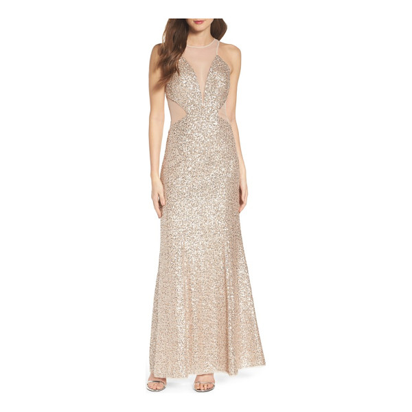 AIDAN BY AIDAN MATTOX illusion cutout sequin mermaid gown - Sheer insets at the plunging necklines and side cutouts...