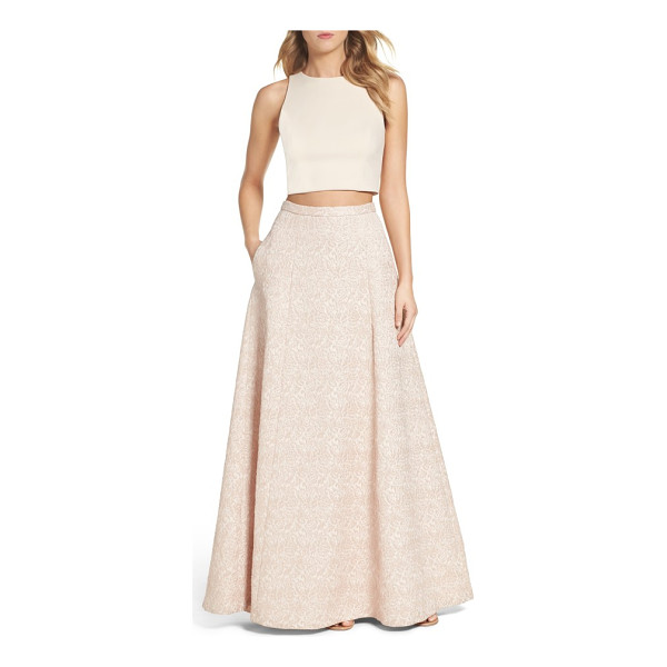 AIDAN BY AIDAN MATTOX two-piece gown - A pop of midriff gives just-right edge to this soft, pastel...